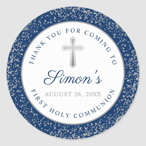 Silver Glitter Navy Blue First Holy Communion Classic Round Sticker