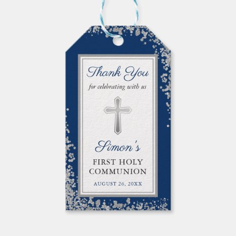 Silver Glitter Navy Blue First Holy Communion Gift Tags