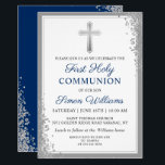 "Silver Glitter Navy Blue First Holy Communion Invitation<br><div class=""desc"">Silver Glitter Navy Blue First Holy Communion Invitation</div>"