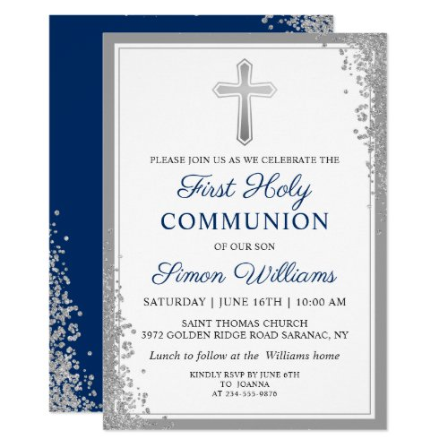 Silver Glitter Navy Blue First Holy Communion Invitation