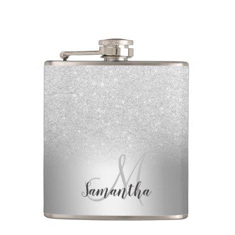 Silver glitter ombre metallic foil monogram flask