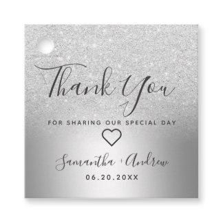 Silver glitter ombre metallic thank you wedding favor tags