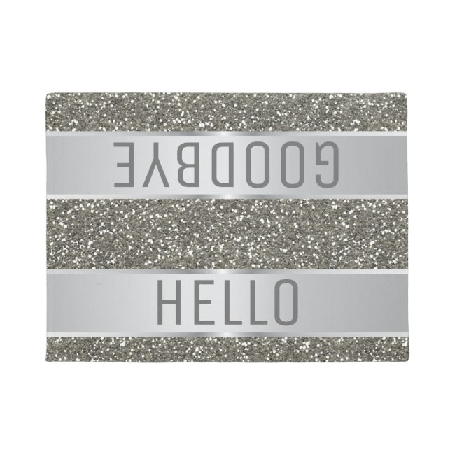 Silver Glitter Pattern Hello Goodbye
