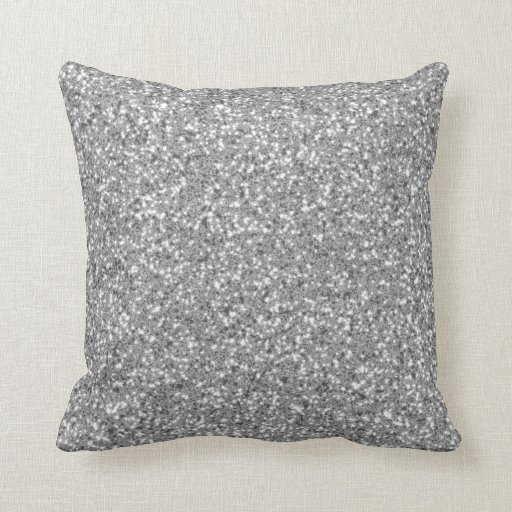 Silver Glitter Pattern Look-like Throw Pillow