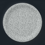 """Silver Glitter Pattern Paper Plate<br><div class=""""desc"""">Silver paper plates with pretty silver glitter pattern. You can add text to personalize.</div>"""