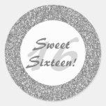 Silver Glitter Pattern Sweet Sixteen Classic Round Sticker