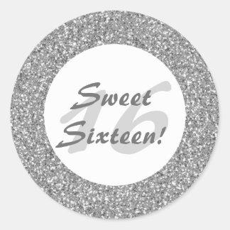 Silver Glitter Pattern Sweet Sixteen Round Stickers