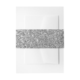 Silver Glitter Photo Invitation Belly Band
