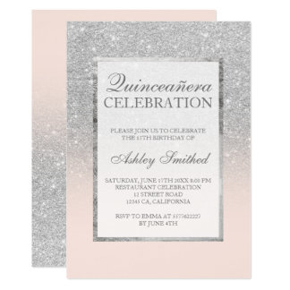 Silver glitter pink elegant chic Quinceañera Card
