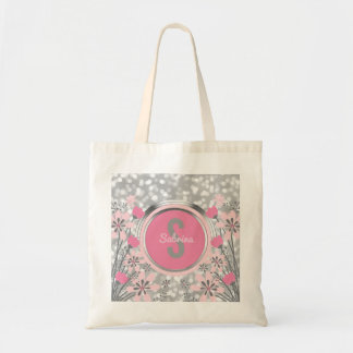 Silver Glitter Pink Flowers | Create Your Own Name Tote Bag