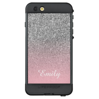 Silver Glitter Pink Ombre Personalized LifeProof NÜÜD iPhone 6s Plus Case