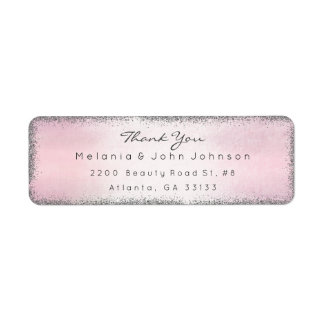 Silver Glitter Pink Thank You RSVP Delicate Label
