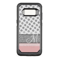 Silver Glitter Polka Dot Monogram Can Change Color Otterbox Commuter Samsung Galaxy S8 Case at Zazzle