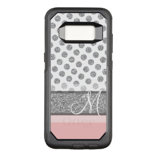 Silver Glitter Polka Dot Monogram Can CHANGE color OtterBox Commuter Samsung Galaxy S8 Case
