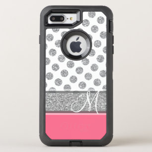 best service dbee7 da088 Silver Glitter Polka Dot Monogram Can CHANGE color OtterBox Defender iPhone  8 Plus/7 Plus Case