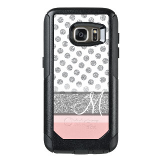 Silver Glitter Polka Dot Monogram Can CHANGE color OtterBox Samsung Galaxy S7 Case