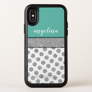 Silver Glitter Polka Dot Monogram Can CHANGE color OtterBox Symmetry iPhone X Case