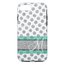 Silver Glitter Polka Dot Pattern with Monogram iPhone 7 Case