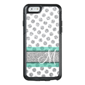 Silver Glitter Polka Dot Pattern with Monogram OtterBox iPhone 6/6s Case