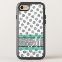 Silver Glitter Polka Dot Pattern with Monogram OtterBox Symmetry iPhone 8/7 Case