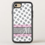 "Silver Glitter Polka Dot Pattern with Monogram Pin OtterBox Symmetry iPhone 8/7 Case<br><div class=""desc"">NOT REAL GLITTER - Trendy patterns and name and monogram.</div>"