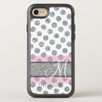 Silver Glitter Polka Dot Pattern with Monogram Pin OtterBox Symmetry iPhone 8/7 Case
