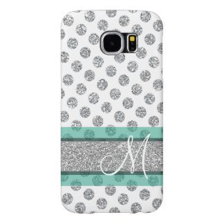 Silver Glitter Polka Dot Pattern with Monogram Samsung Galaxy S6 Cases