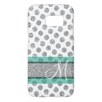 Silver Glitter Polka Dot Pattern with Monogram Samsung Galaxy S7 Case