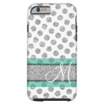 Silver Glitter Polka Dot Pattern With Monogram Tough Iphone 6 Case at Zazzle