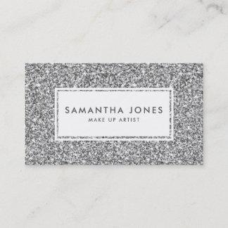 Silver Glitter Print Feminine Business Cards