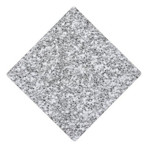 Silver Glitter Printed Graduation Cap Topper
