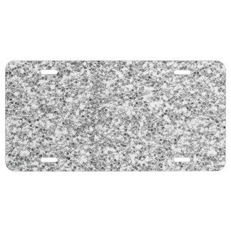 Silver Glitter Printed License Plate