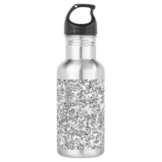 Silver Glitter Printed Water Bottle