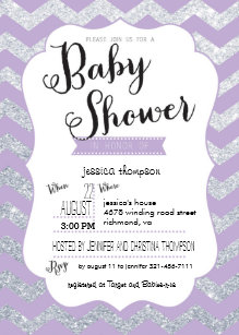 Purple and silver baby shower invitations zazzle silver glitter purple chevron baby shower invite filmwisefo