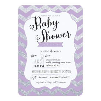 Silver Glitter & Purple Chevron Baby Shower Invite