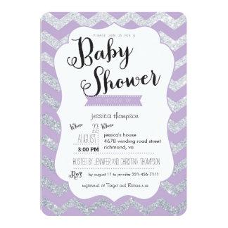silver glitter u0026 purple chevron baby shower invite