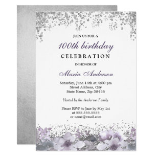 Silver Glitter Purple Floral 100th Birthday Invite