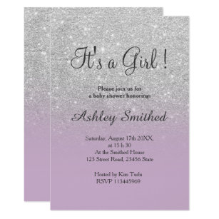 Purple and silver baby shower invitations announcements zazzle silver glitter purple ombre girl baby shower card filmwisefo Choice Image