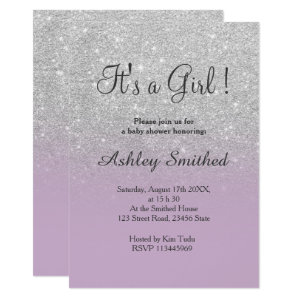 Purple and Gray Baby Shower Invitations, glitter