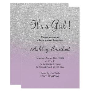 Silver glitter purple ombre girl baby shower Invitation