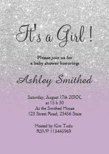 Purple and silver baby shower invitations zazzle silver glitter purple ombre girl baby shower invitation filmwisefo