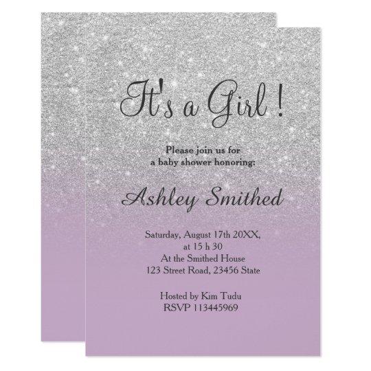 Silver glitter purple ombre girl baby shower invitation zazzle silver glitter purple ombre girl baby shower invitation filmwisefo