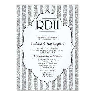 Silver Glitter RDH graduation dental hygienist Card