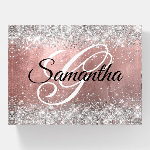 Silver Glitter Rose Gold Foil Fancy Monogrammed Paperweight