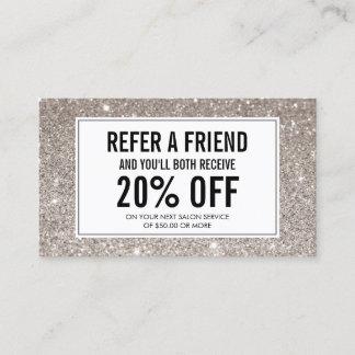 Silver Glitter Salon Referral Card