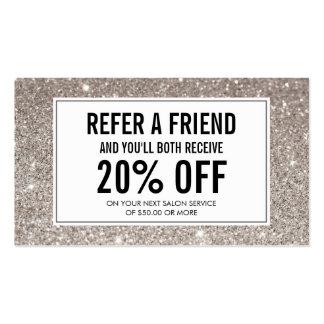Silver Glitter Salon Referral Card Business Card