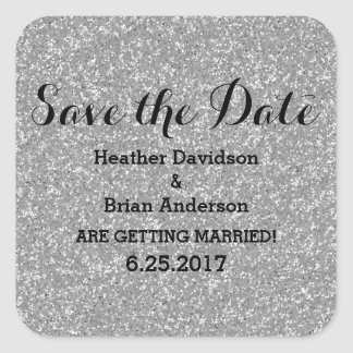 Silver Glitter Save the Date Stickers