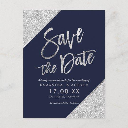 Silver Glitter Script Navy Blue Save The Date Announcement