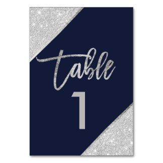 Silver glitter script navy blue table number