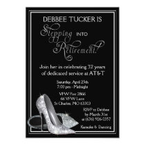 Silver Glitter Shoes Retirement Party Card